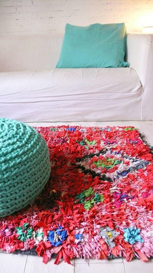 Vintage Moroccan Rag Rug   BOUCHEROUITE RED por lacasadecoto, €145.00