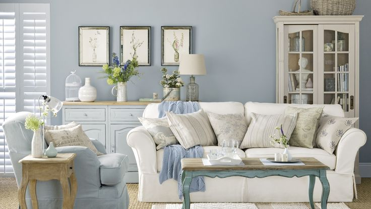 Pale blue country boutique living room