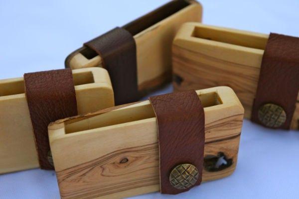 Wooden visiting card holder / credit card holder / wallet of olive wood thick model