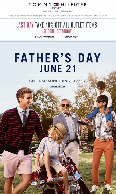 Tommy Hilfiger Father's Day email; May 2015
