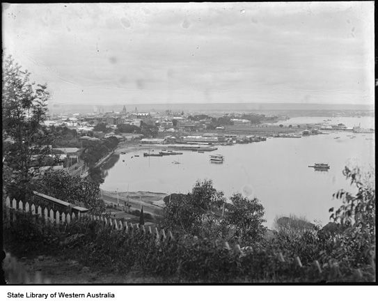 Perth from Kings Park with houseboats on the river, 1905.