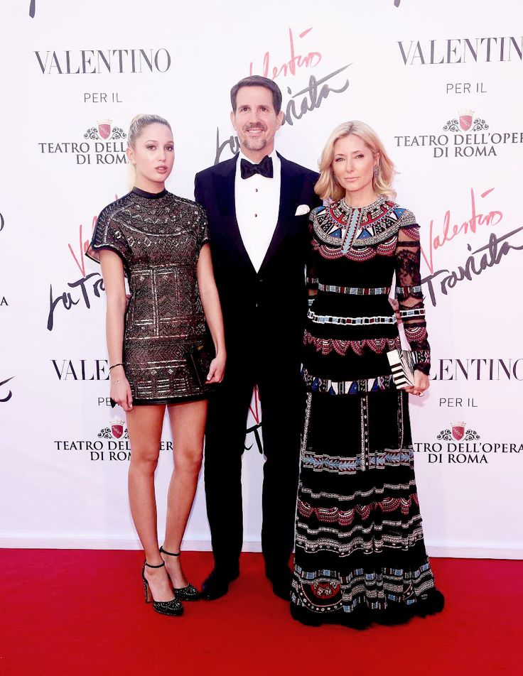 Crown Prince Pavlos and Crown Princess Marie-Chantal alongside their eldest daughter, Princess Olympia attend the 'La Traviata' Premiere at Teatro Dell'Opera on May 22, 2016 in Rome, Italy.