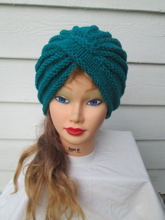 Hand Knitted Hat Patterns : Knit Turban Turquoise Turban hat hand knitted by Ritaknitsall, USD40.00 Knit-...