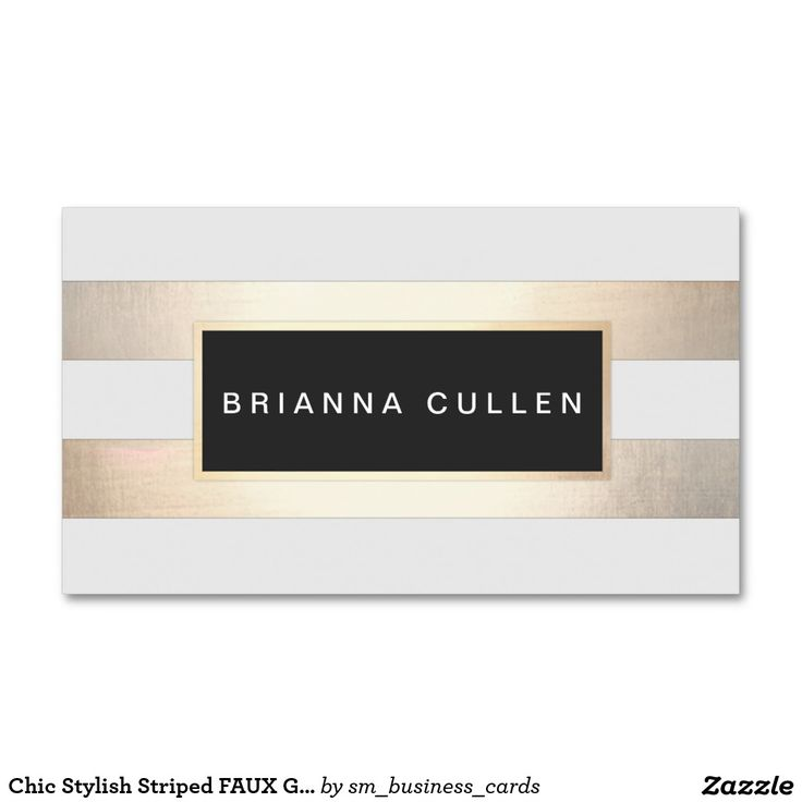 Chic Stylish Striped FAUX Gold Foil and Black Double-Sided Standard Business Cards (Pack Of 100)