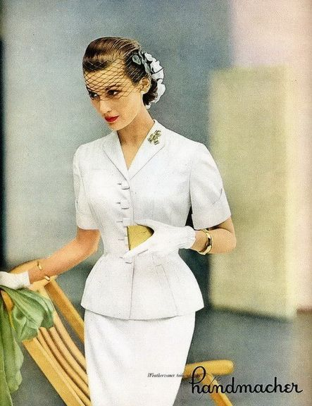 Handmacher White Suit Vogue 1951. Sleeves, buttons ... oh my ...