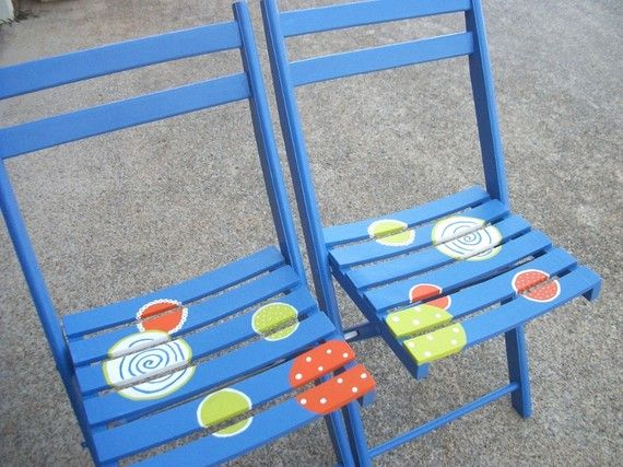 Vintage Painted Wooden Folding Chairs by TPetree on Etsy, $150.00