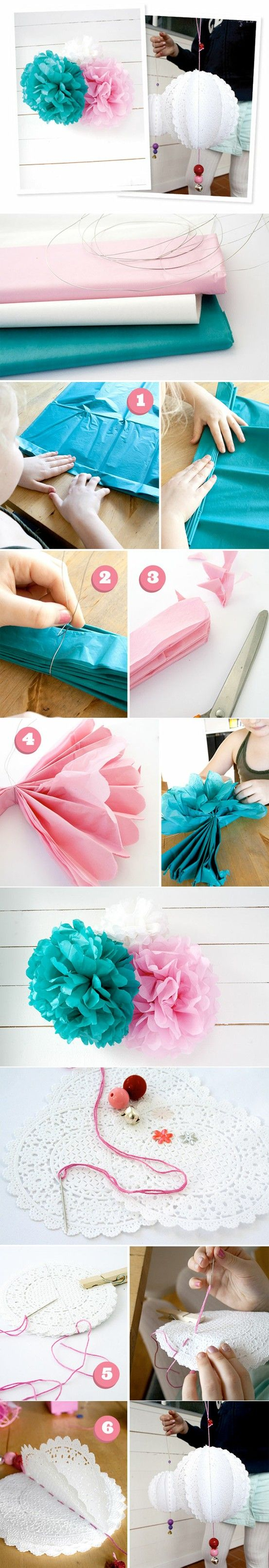 love the idea of plastic tablecloths for the pompoms, then u can use them outside
