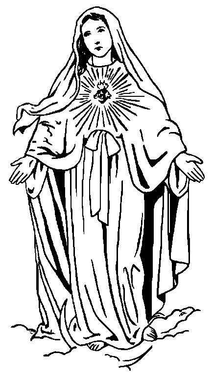 Line Drawing Virgin Mary : Http twoheartsdesign images clipart catholic