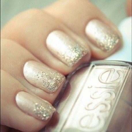 So pretty for Christmas! Neutral metallic + glitter tips.