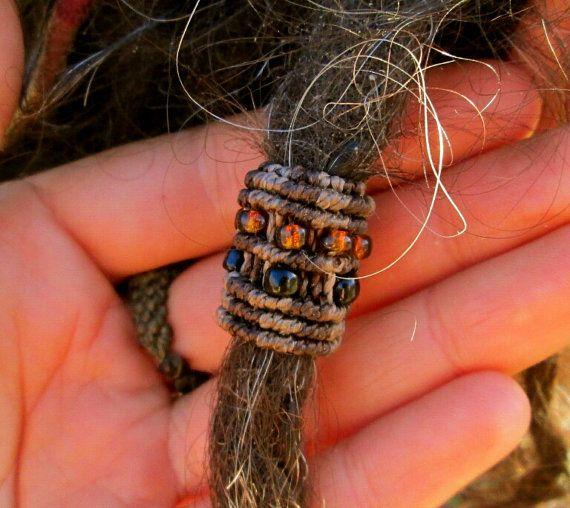 Hand made macrame dreadlock bead sleeve ring by gypsygoddessart, $15.00