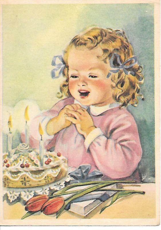 Открытка советская с тортом