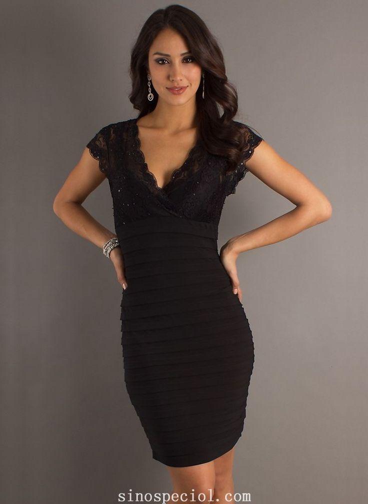 Charming Black Sheath/Column Short Sleeves Cocktail Dress