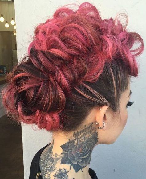 pastel pink braided mohawk updo