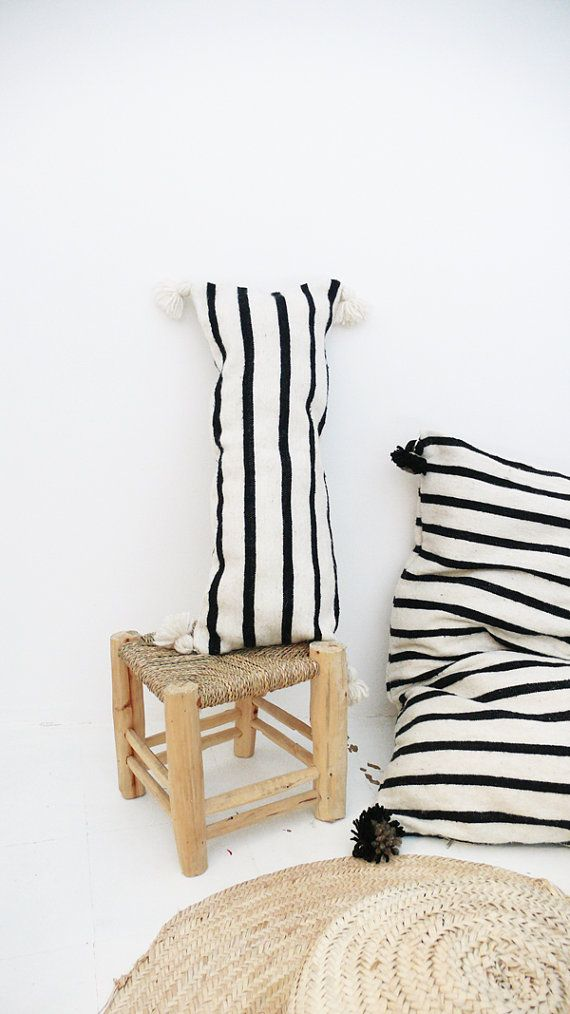 Moroccan POM POM Wool Pillow Cover - Long in Black Stripes