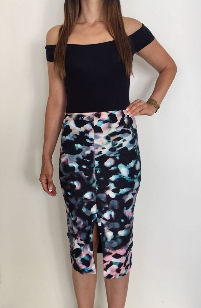 KOOKAI Multi-colour Print Ruched Bodycon Midi Pencil Skirt Sz 1 AU 6-8  Cocktail  fashion  clothing  shoes  accessories  womensclothing  skirts  (ebay link) ff8451d42