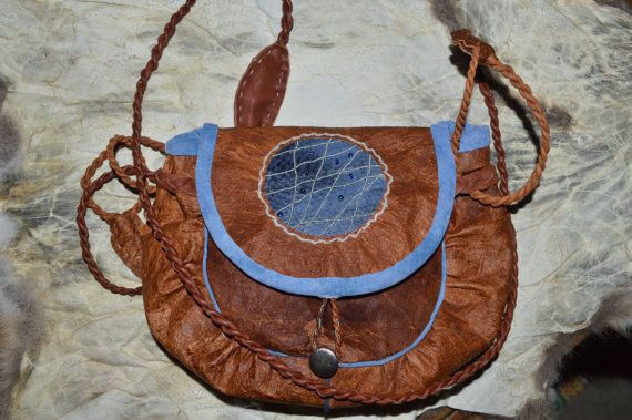 Saami bag. Tin embroidered shoulder bag. Reindeer bag with fish skin and beads.