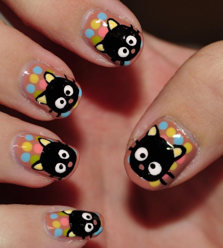 Colorful Emo Nail Art Cat Print Nails – EmoStyleOnline.com - Best 25+ Emo Nail Art Ideas On Pinterest Easy Nail Designs