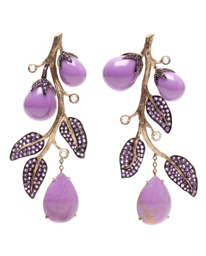 Amethyst, diamond and sapphire branch earrings by LYDIA COURTEILLE at Browns Fashion.