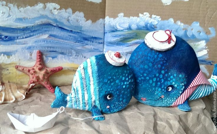 Купить Материнская нежность - тёмно-синий, синий, голубой, моряк, кит, рыба, авторская игрушка