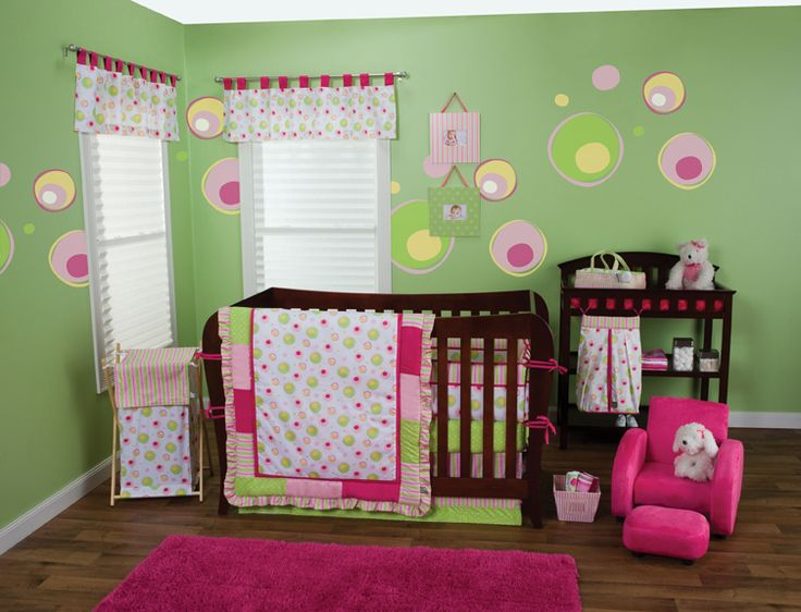 pink baby furniture. splash pink crib bedding and lime green your nursery is pretty baby furniture