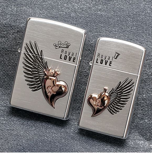 Royal Love Couple Sliver Zippo Lighter Gift Made in USA GENUINE ORIGINAL Packing