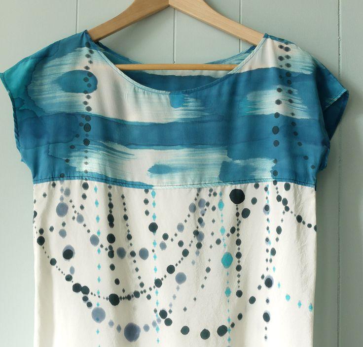 silk hand painted shirt INDIGO IKAT DOT made to order by xsilk, $139.00