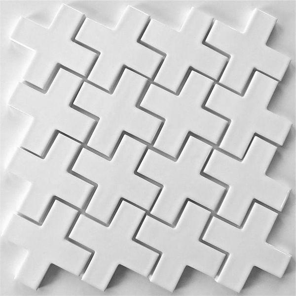 Mosaic Tile Plus White Ceramic For Kitchen Backsplash And Bathroom