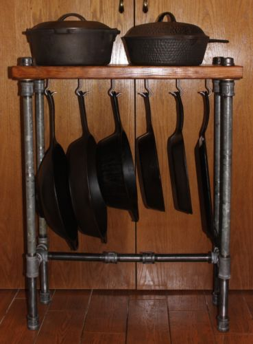 Cast-Iron-Skillet-Cookware-Table-Display-Rack-Pipe-Reclaimed-Wood-Kitchen-Stand