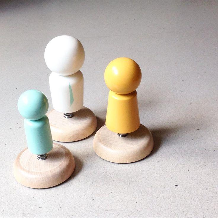 Custom Bobble Family - great colour combo! (Love the blue tie ☺️) #woodtoys…