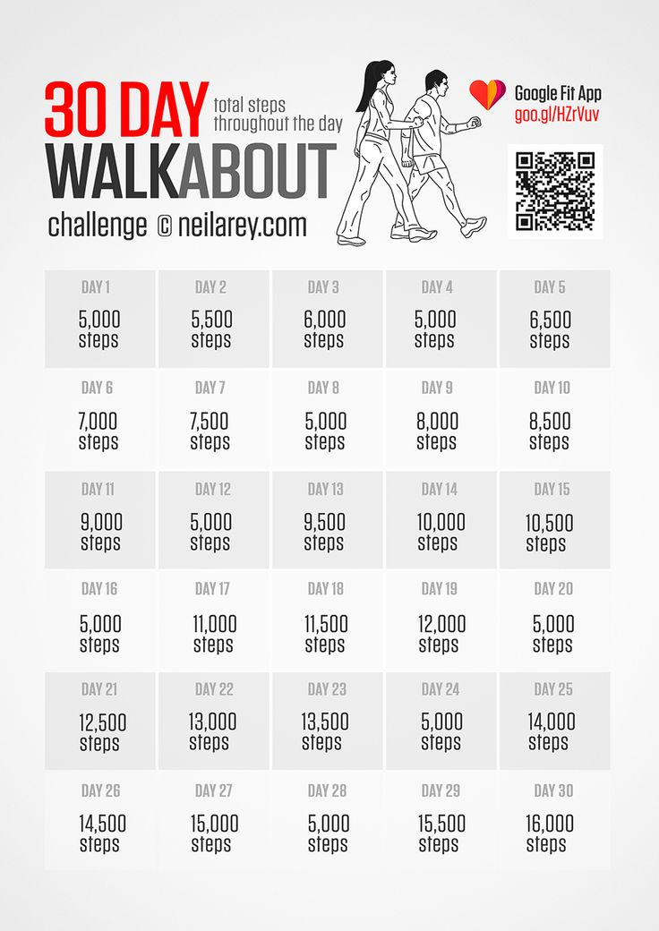 Take up a 30-day walkabout challenge and make your every step count. Use a pedometer or a free mobile app to track your progress throughout the day. #fitness #challenge #walkabout