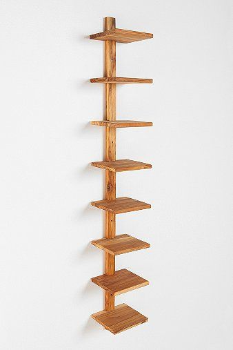 Teak Spine Wall Shelf
