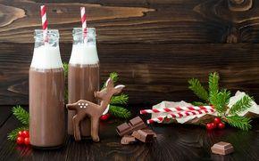 Обои какао, шоколад, новый год, олень, тюль, ветви деревьев, пить, Рождество, печенье, праздник, сливки, бутылка