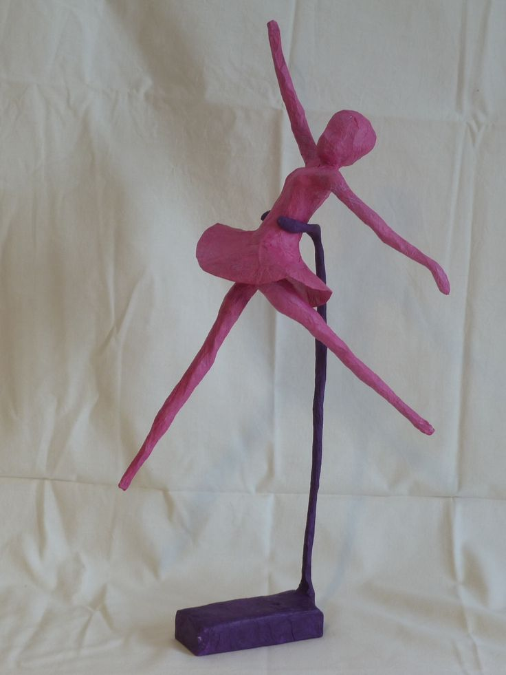 hot pink paper mache dancer