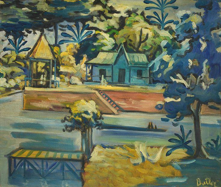 """BUTLER, Horacio Argentino 1897-1983 """"DIA DE PICNIC"""" Pintura al óleo sobre tela. Firmada BUTLER abajo a la derecha. Medidas: 60 x 71 cm Galería WILDENSTEIN, Buenos Aires."""
