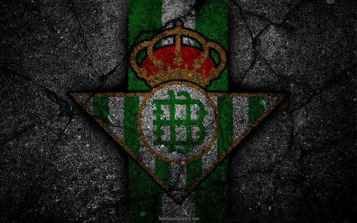 Download wallpapers Betis, logo, art, La Liga, soccer, football club, LaLiga, grunge, Betis FC