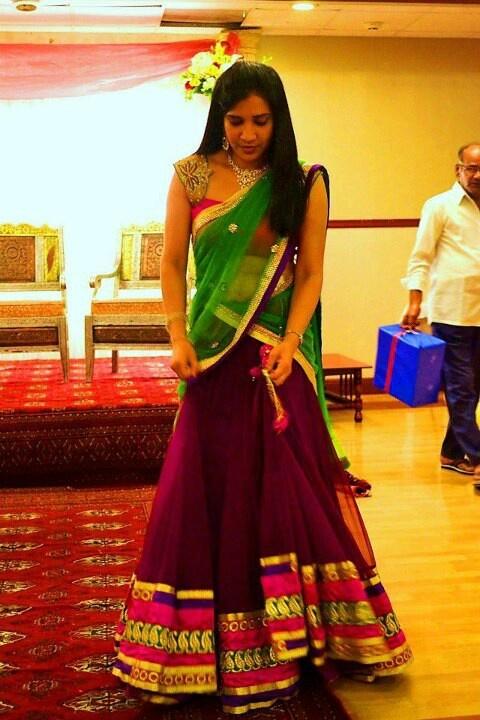 Mugdhas half Saree  nice blouse. sleeves are nice.