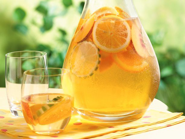 White Wine Sangria with orange liqueur, vodka, white wine, club soda, lemons,