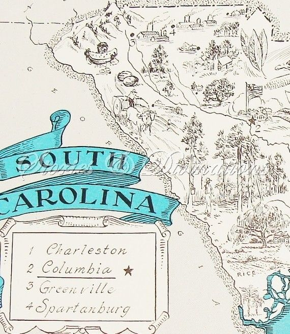 RESERVED - 1930s - South Carolina - A Fun and Funky Little Vintage Picture Map to Frame - Love that Columbia is underlined and has a star next to it! :)
