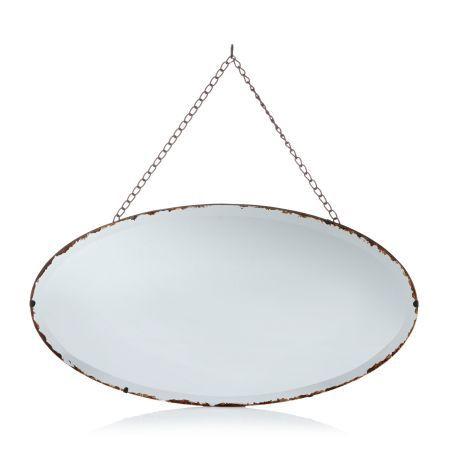 Spiegel, Kettenaufhängung, Metall und Spiegelglas Vorderansicht                                                                                                                                                                                 Mehr
