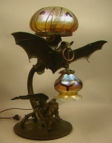 20th C Bronze Bat & Winged Dragon Lamp. Art Glass : Lot 98