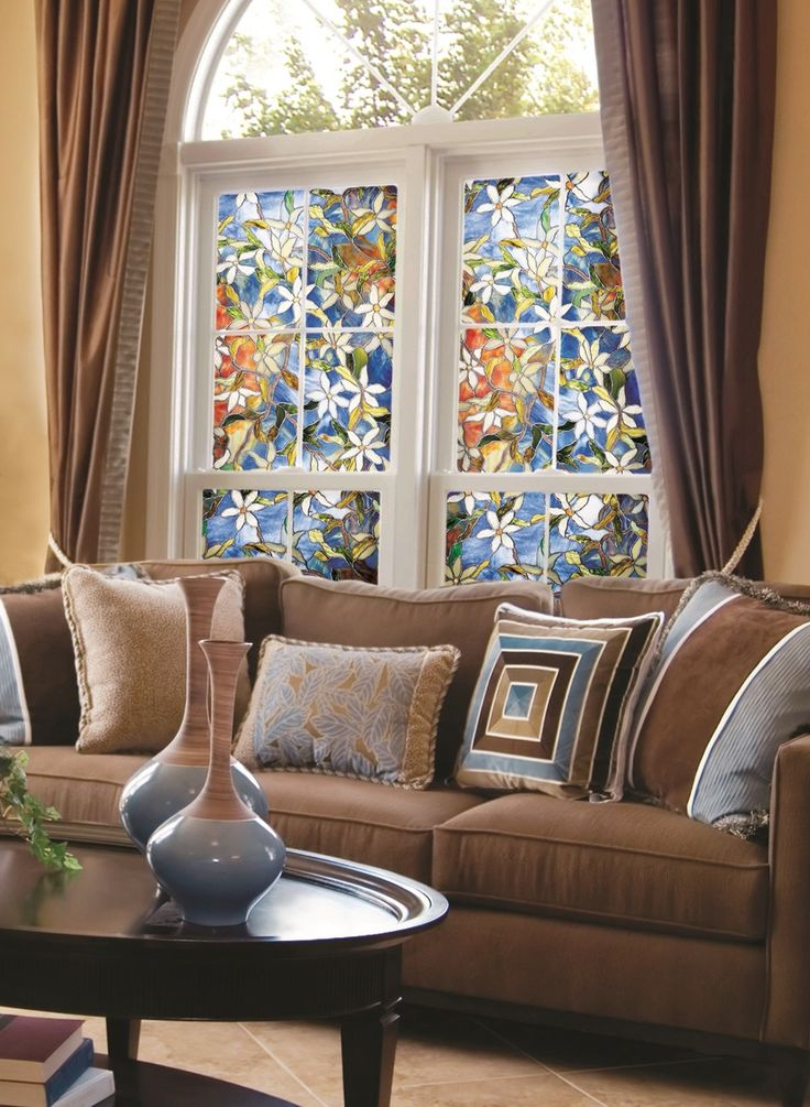 Interior : Faux Stained Glass Window Film With Decorations For Windows Also Beautiful Glass Decorations As Home Decor And Modern Rustic Boh Decorative Faux Stained Glass Window Film Panels. Decals. Bamboo.