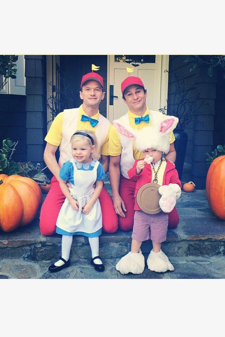 Neil Patrick Harris and David Burtka are Tweedledee and Tweedledum with daughter Harper as Alice and Gideon as the March Hare.   - ELLE.com