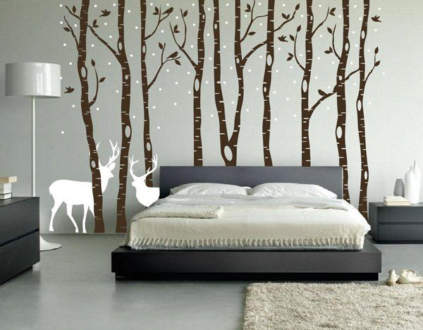 Birch Tree Wall Decal Forest with Snow Birds and Deer Vinyl Sticker Removable - 45+ Beautiful Wall Decals Ideas  <3 <3