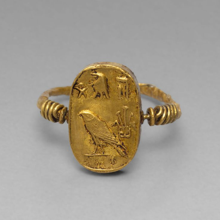 Egyptian Finger Ring with the Goddess Isis and Her Child, the God Horus, Ptolemaic Period (?), (305-30 B.C.)