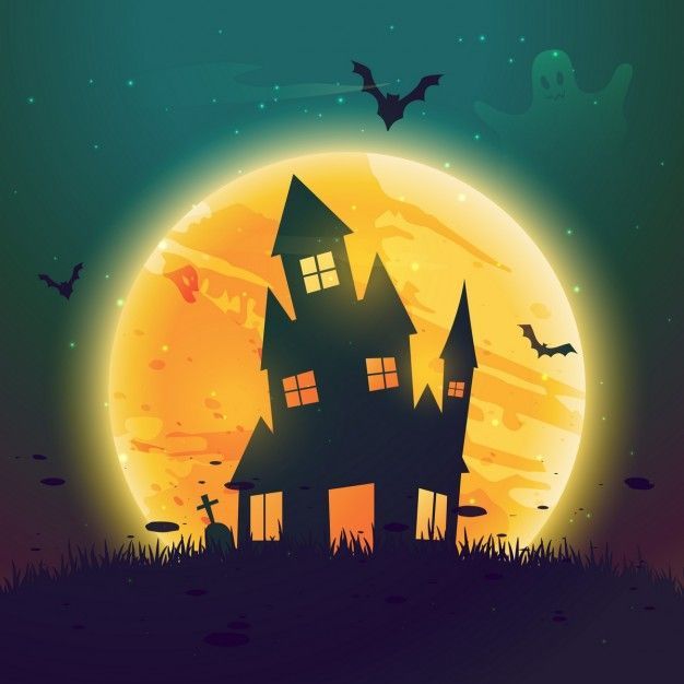 Background with a creepy house on halloween night Free Vector