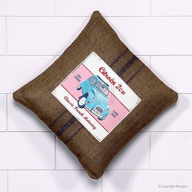 Jute Vintage Car Cushion - Citreon 2CV | RP: $34.99, SP: $17.99