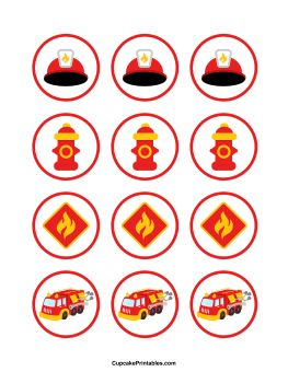 Fire Truck Cupcake Toppers