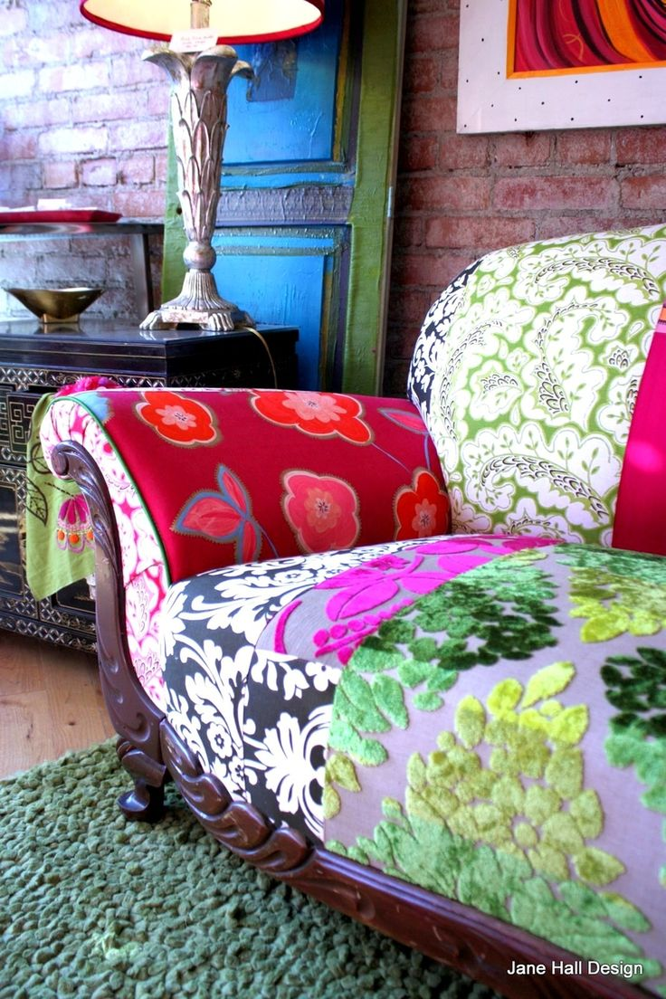Vintage 20's carved wood show Upholstered and Quiltd Designers Guild embroidered silk and cut velvets, in magenta, pumpkin spring printed cottons and plum: Printed Cotton, Sofa, Idea, Couch, Color, Jane Hall, Designers Guild, Carved Wood, Furniture