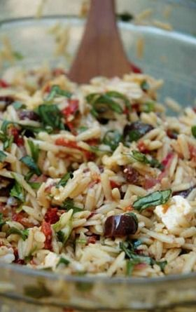 Orzo Salad with Sun Dried Tomatoes, Roasted Peppers, Black Olives, and Feta Cheese