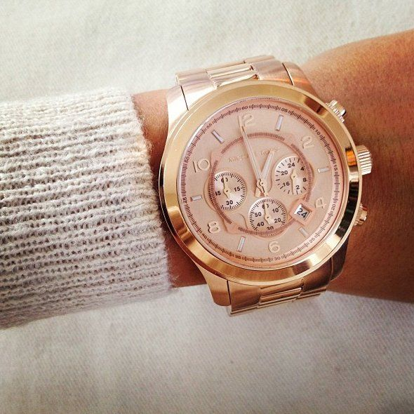 "Micheal Kors ""Runway"" oversized watch in Rose Gold.  He tends to use all of these ""Runway"" watches in his national ad campaigns...along w/ the models wearing his jewelry line!.. Must, have, want."